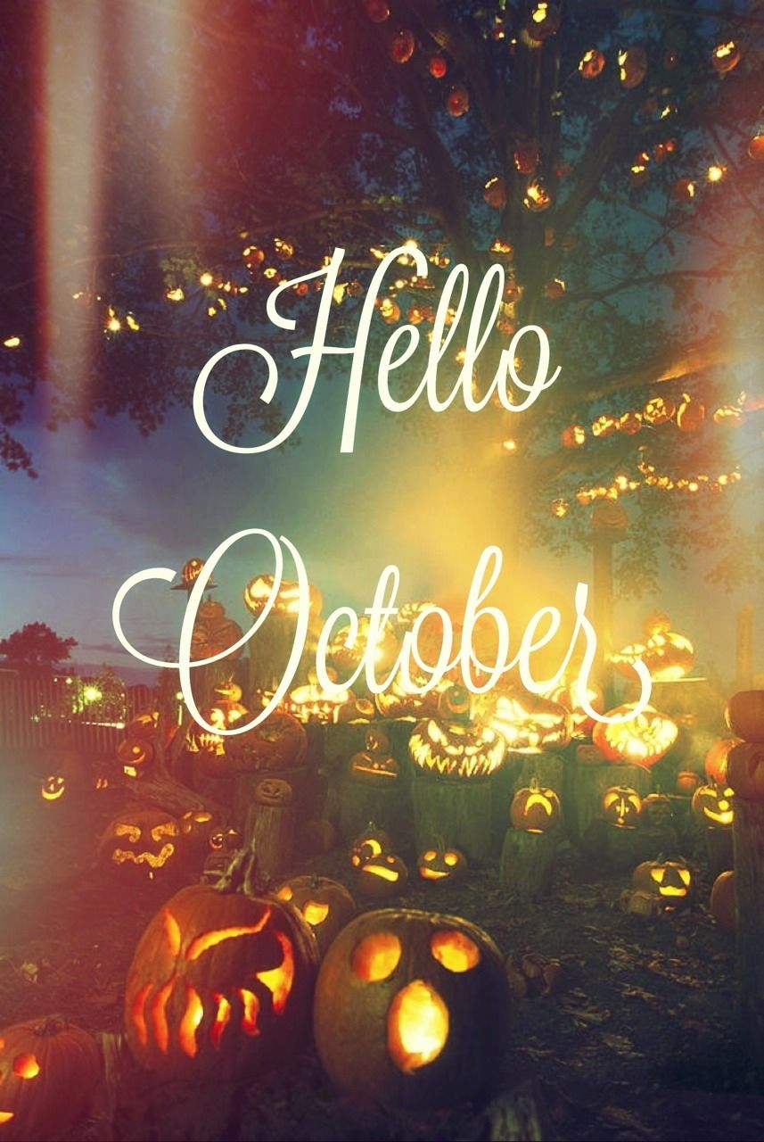 Elegant Hello October Quote With Jack O Lanterns