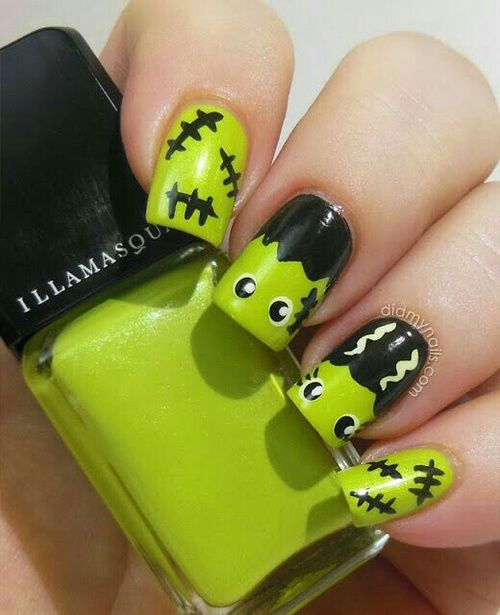 Green Frankenstein Nail Art - Green Frankenstein Nail Art Pictures, Photos, And Images For