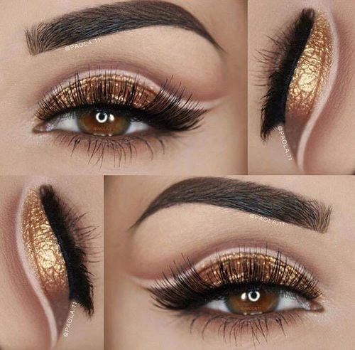 Gold Eyeshadow And Perfect Eyebrows Pictures Photos And
