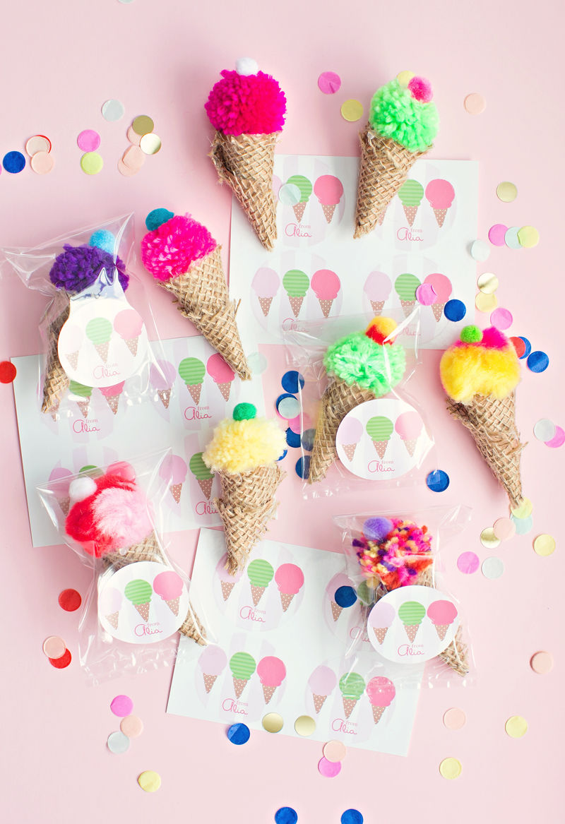 Pom Pom Ice Cream Cone Party Favors Pictures, Photos, And