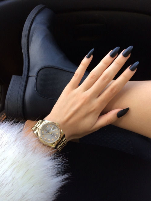 Matte Black Nails, Black Boots And Watch Pictures, Photos, and ...