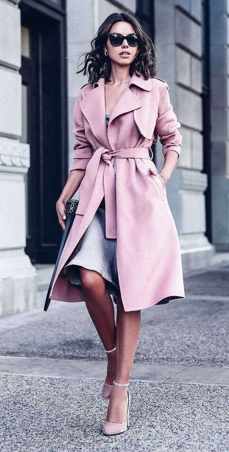 Professional Outfit With Pink Trench Coat Pictures Photos