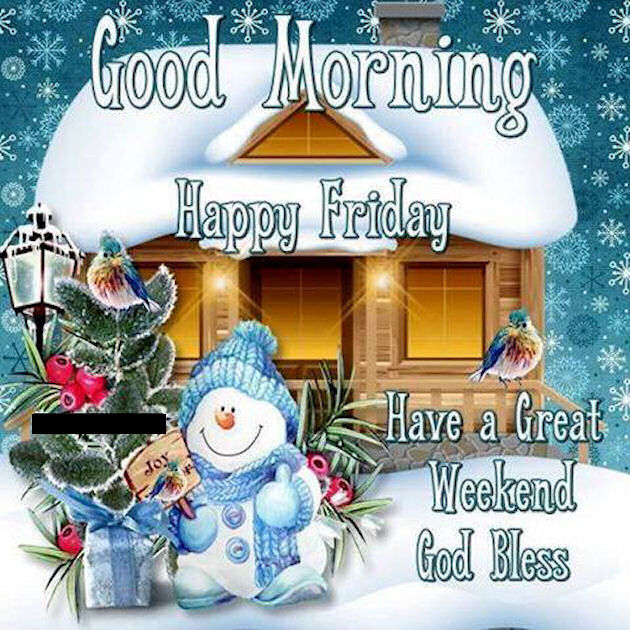 Good Morning Happy Friday Winter Quote With Snowman