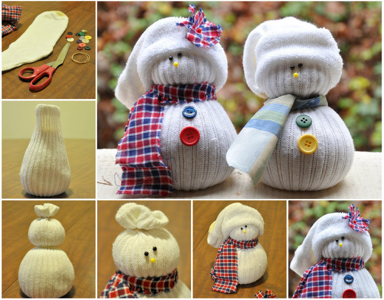 Снеговик своими руками поделка из носков