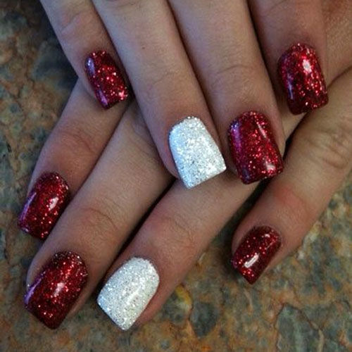 Red And White Glitter Christmas Nail Art