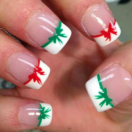 Red And Green Christmas Bow French Tip Nails Pictures Photos And