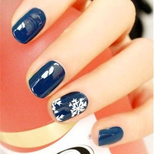 Blue Nails With White Snowflakes