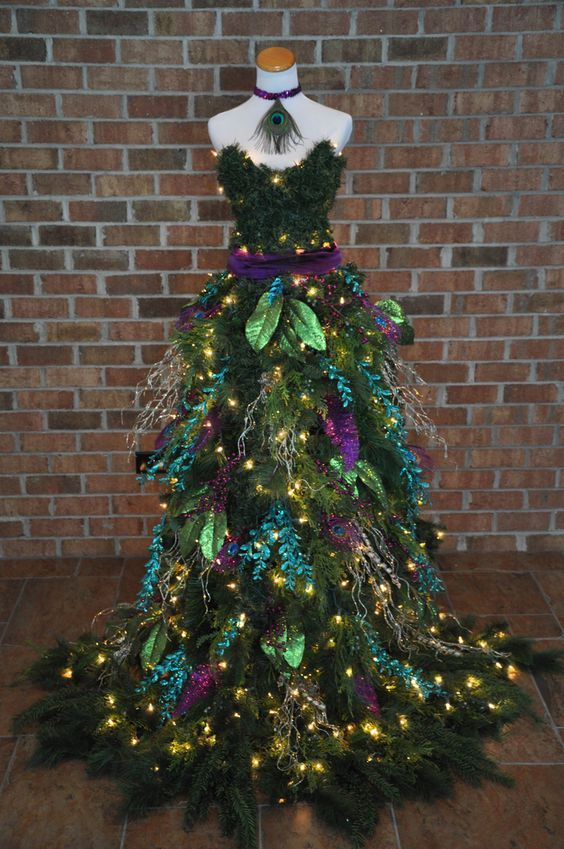 peacock dress christmas tree - Christmas Tree Dress