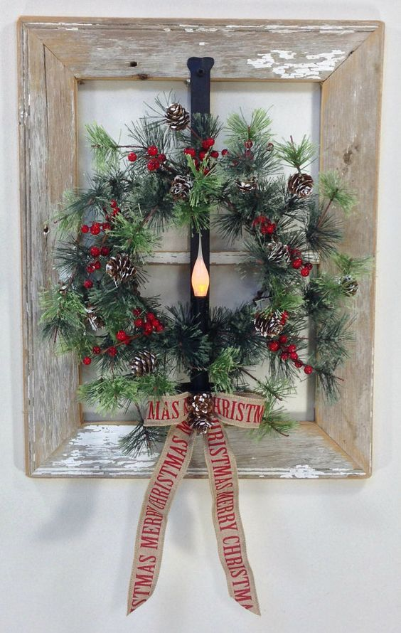 Old window holiday wreath idea pictures photos and for How to decorate a christmas wreath