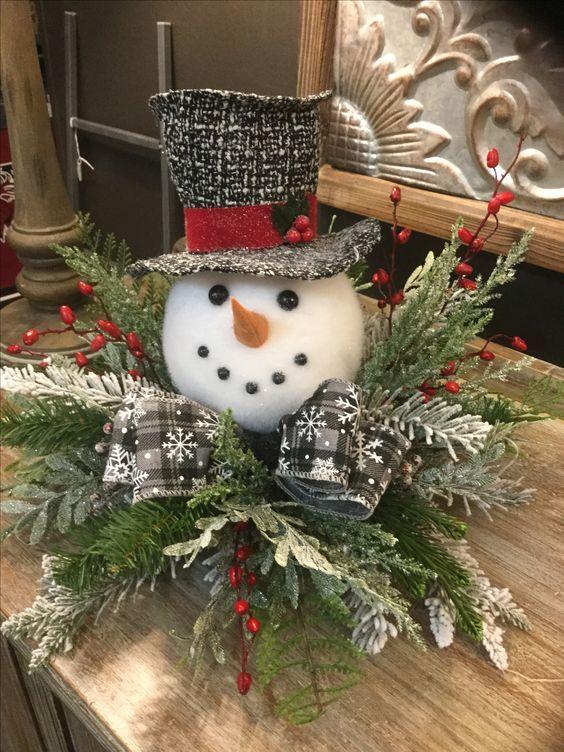Diy Snowman Table Centerpiece Decoration Pictures Photos