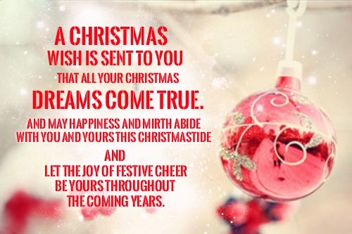 a christmas wish is sent to you that all your christmas dreams come true