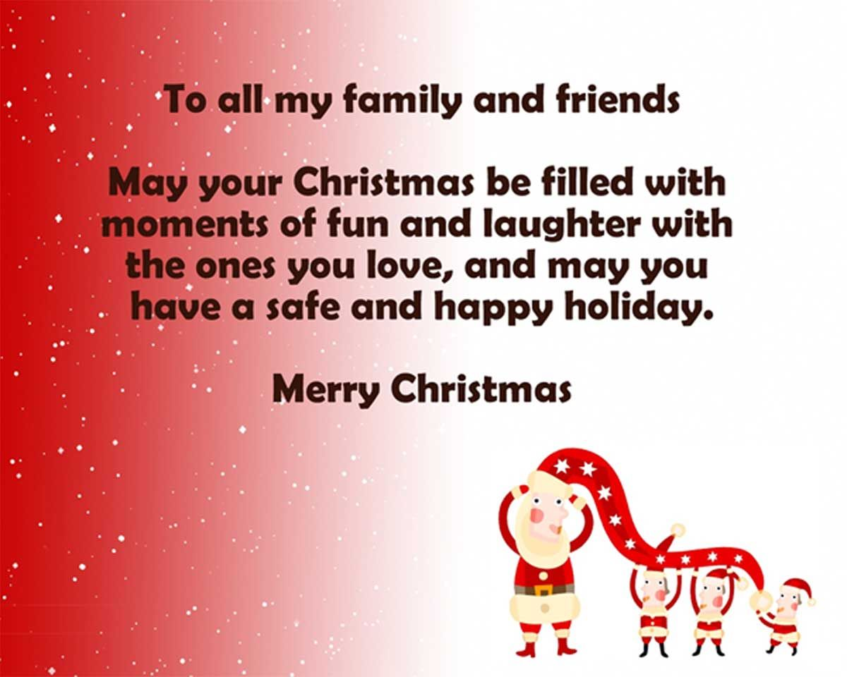 to all my family and friendsmerry christmas