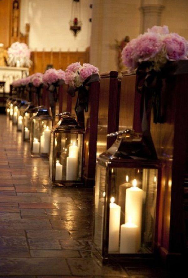 wedding church pew candles - Church Pew