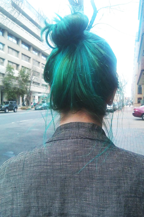 Green Dyed Hair Bun Pictures Photos And Images For