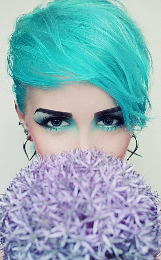 Turquoise Hair Eye Makeup Pictures Photos And Images For