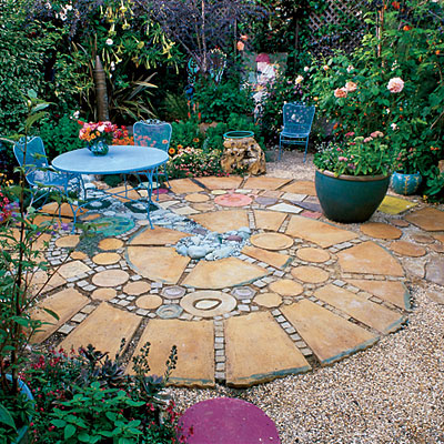 Square and round patio garden design pictures photos and for Garden patio designs