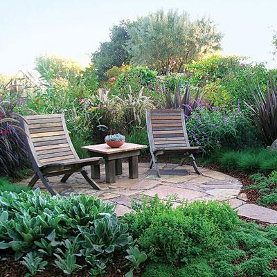 Lush slate patio garden