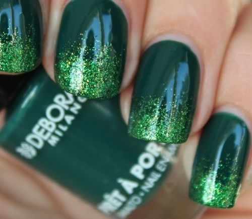 Green Glitter Tipped Nails Pictures, Photos, And Images