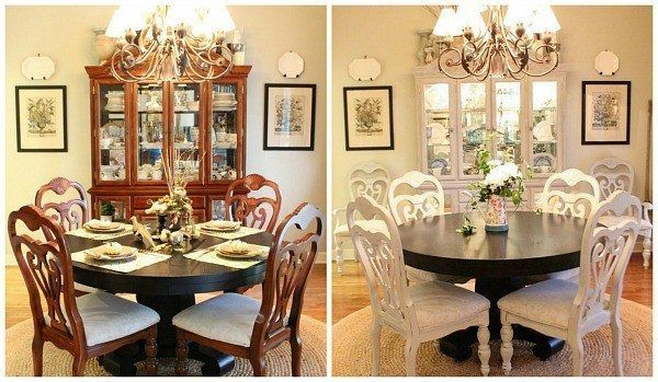 Dining room set before and after using annie sloan chalk for What kind of paint to use on kitchen cabinets for positive quotes wall art