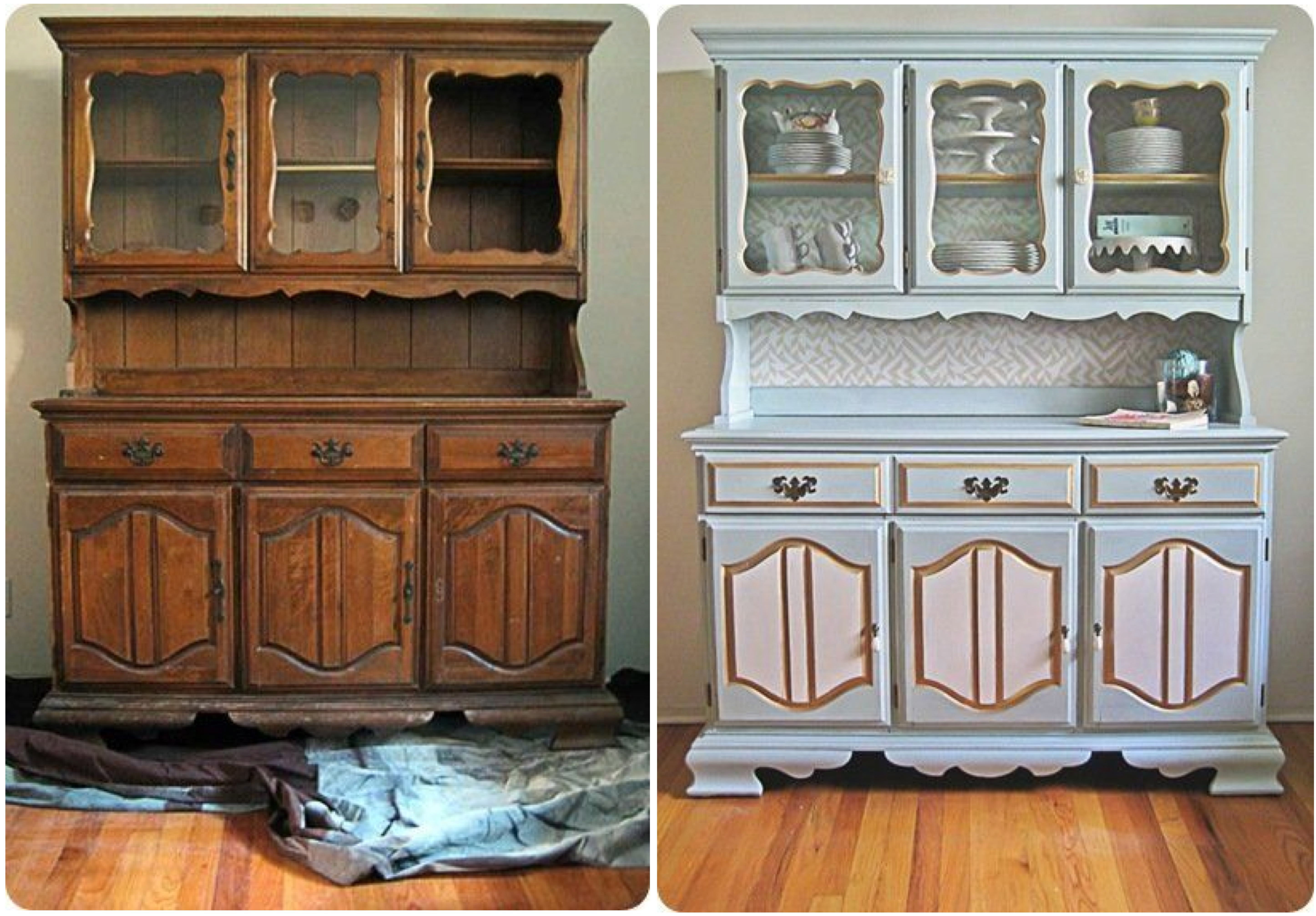 China Hutch Before And After Using Annie Sloan Chalk Paint