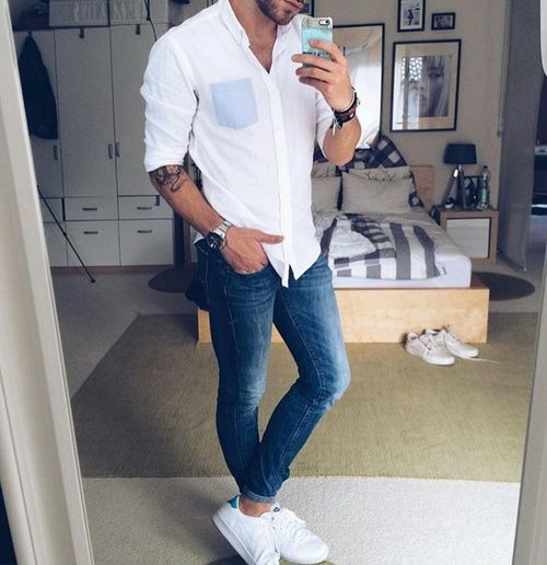 White Shirt With Blue Jeans And Adidas Shoes Pictures