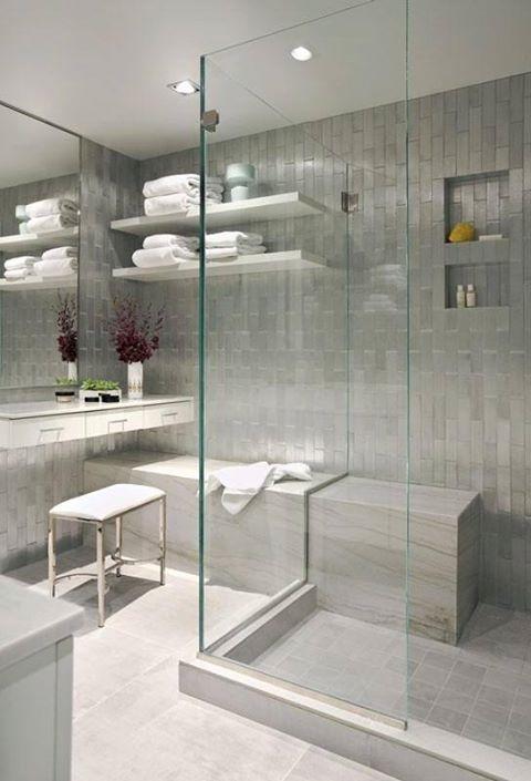 Clean bathroom style interior