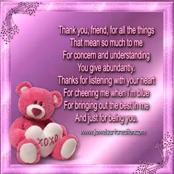 Thinking Of You Poems And Quotes For Friends: Thank You Friend.... Pictures, Photos, And Images For