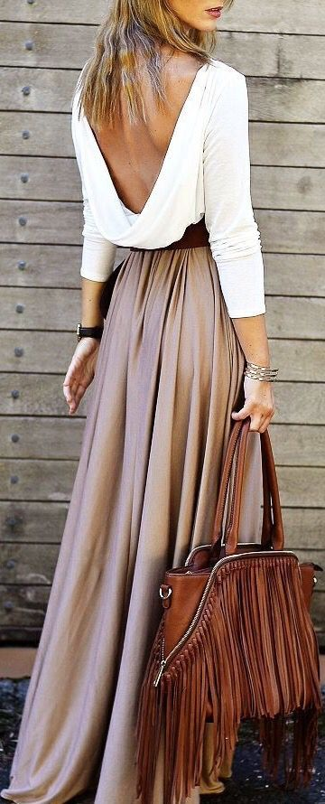 Open Back Top With Long Maxi Skirt For Spring Summer