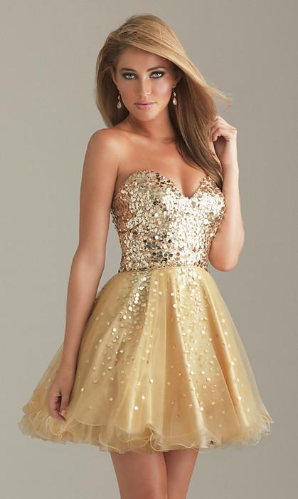 Cute Gold Shimmer Dress