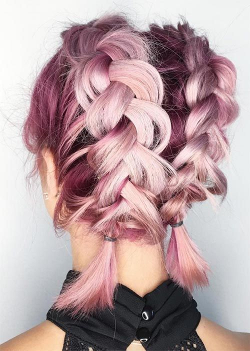 Pink Dyed Braided Short Hair