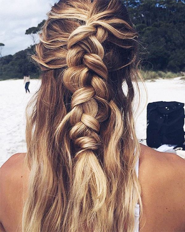 Half Braided Half Down Hairstyle Pictures Photos And
