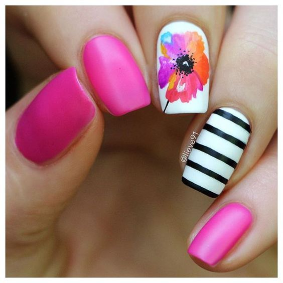 Fl And Pink Summer Nails