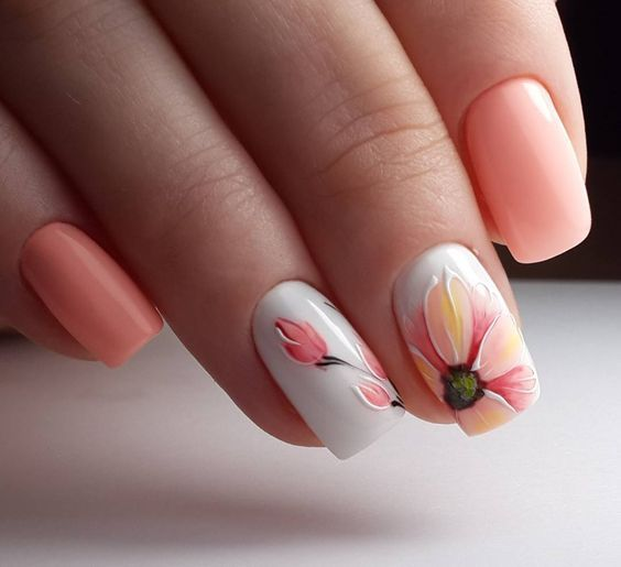 Peachy Summer Nail Art Pictures, Photos, And Images For