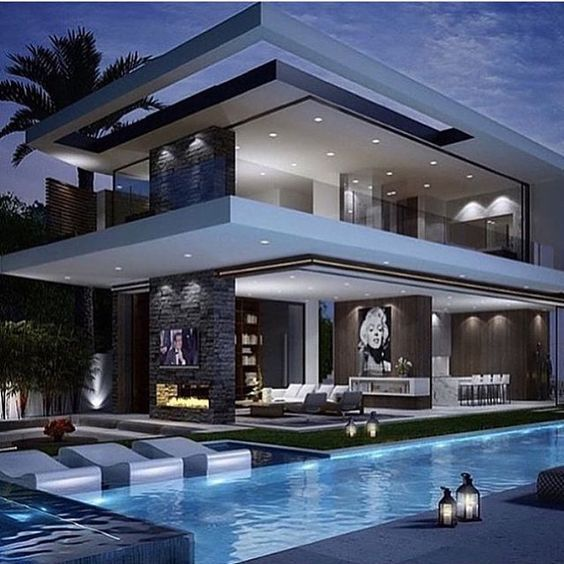 Modern Mansion & Pool Pictures, Photos, And Images For