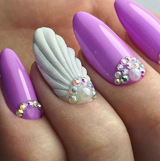 Purple Nails Seashell Nail Art Pictures Photos And Images For