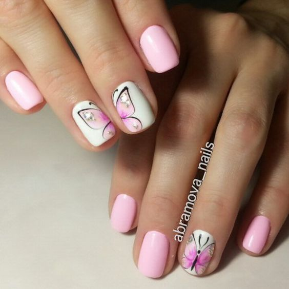Butterfly Nail Art: Pink Butterfly Nail Art Pictures, Photos, And Images For