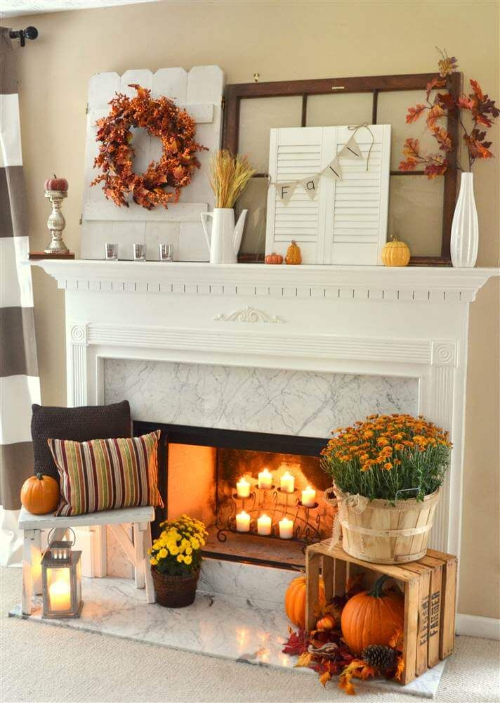 Beautiful Fall Decorated Fireplace Mantle Pictures Photos And Images For Facebook Tumblr