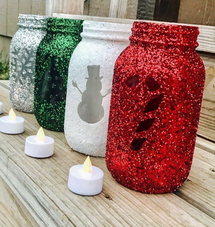 diy glitter christmas mason jar craft