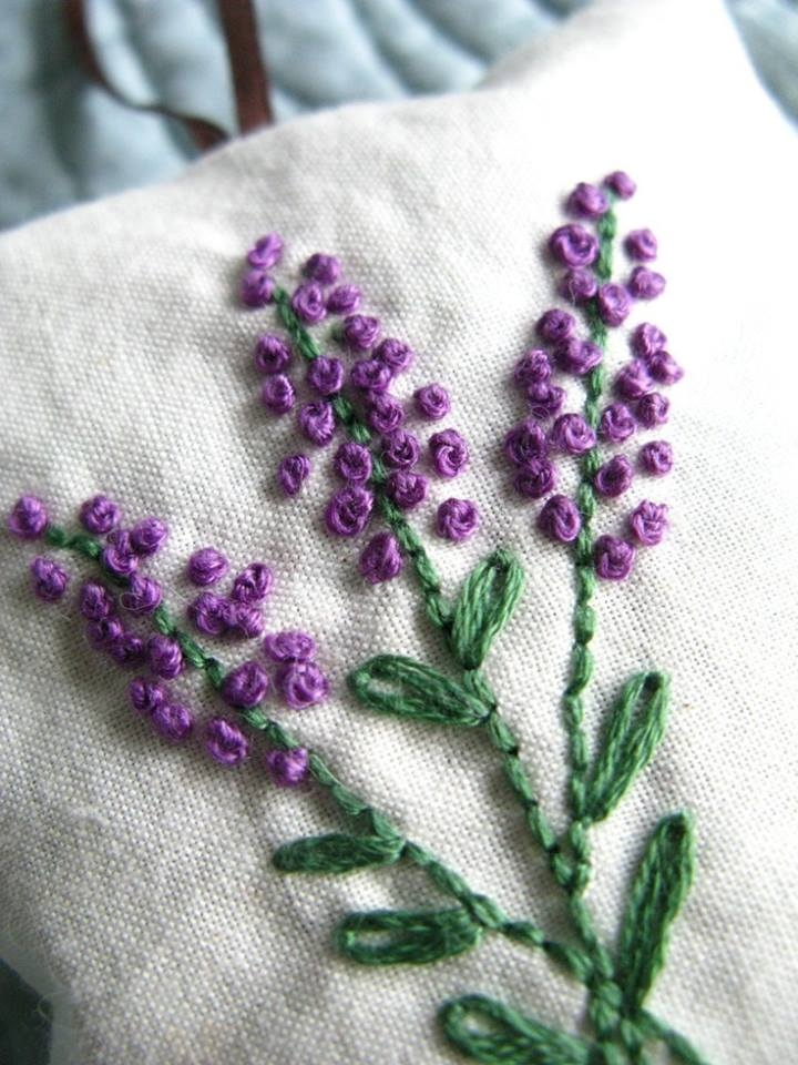 Lavender french knot embroidery pictures photos and