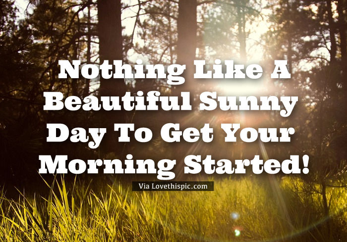 Nothing Like A Beautiful Sunny Day To Get Your Morning