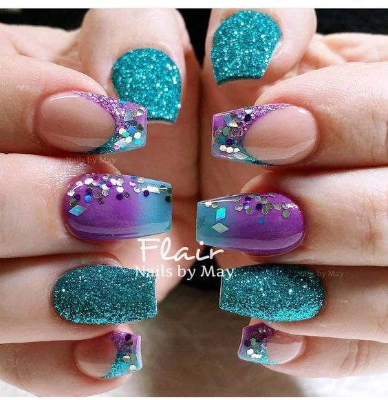 Teal And Purple Nails