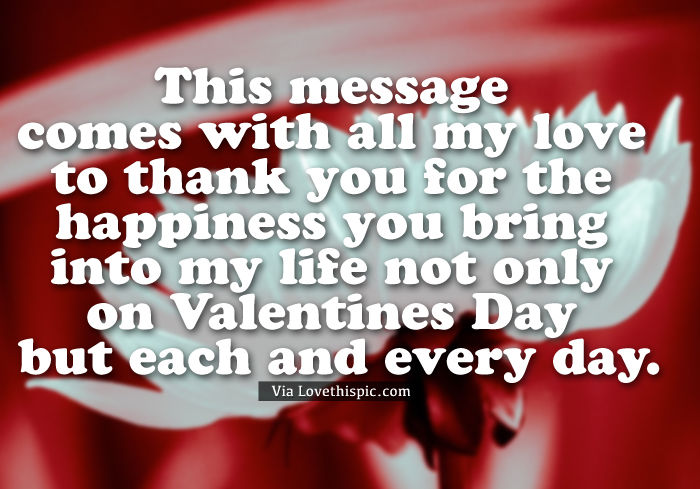 This Message Comes With All My Love To Thank You For The