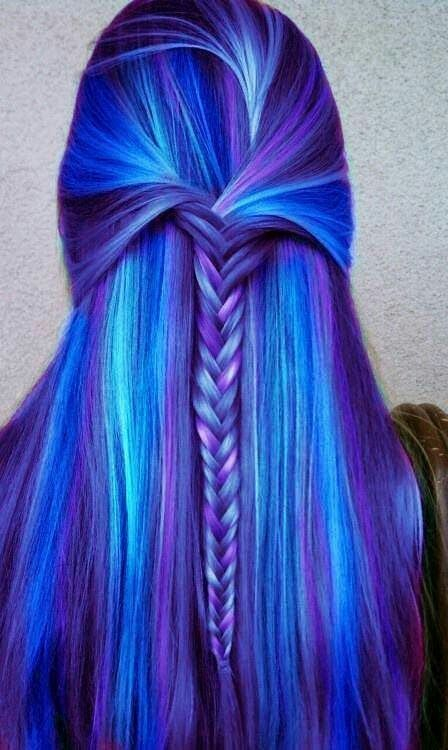 Blue And Purple Multi Colored Hair