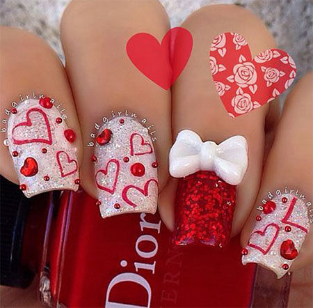 Cute Hearts Bows Valentine S Day Nail Art Pictures Photos And