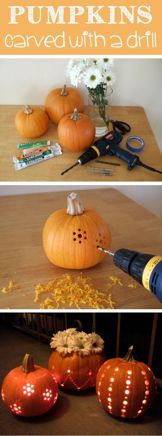 Carve your pumpkin with a drill - add lights