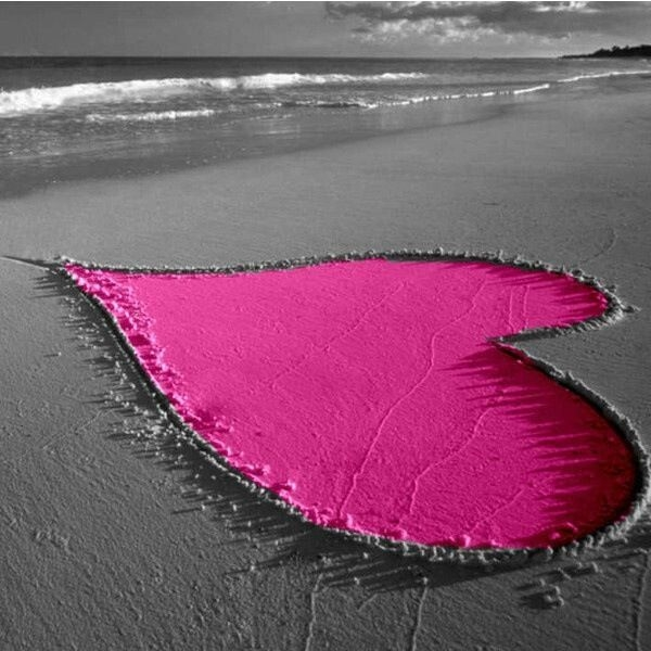 Pink Heart In The Sand