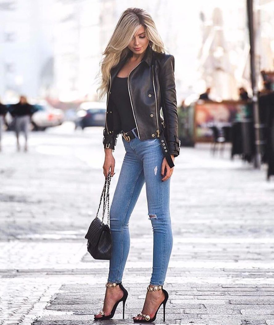 Black Leather Jacket With Blue Jeans And Heels Pictures ...