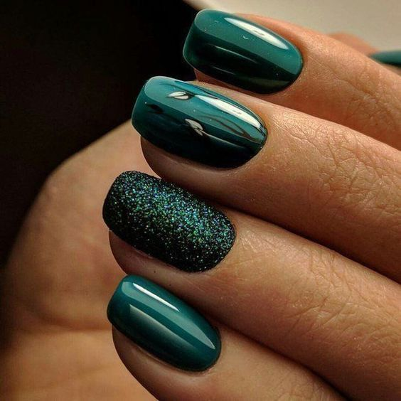 Emerald Green Glitter Nails Pictures, Photos, and Images for ...