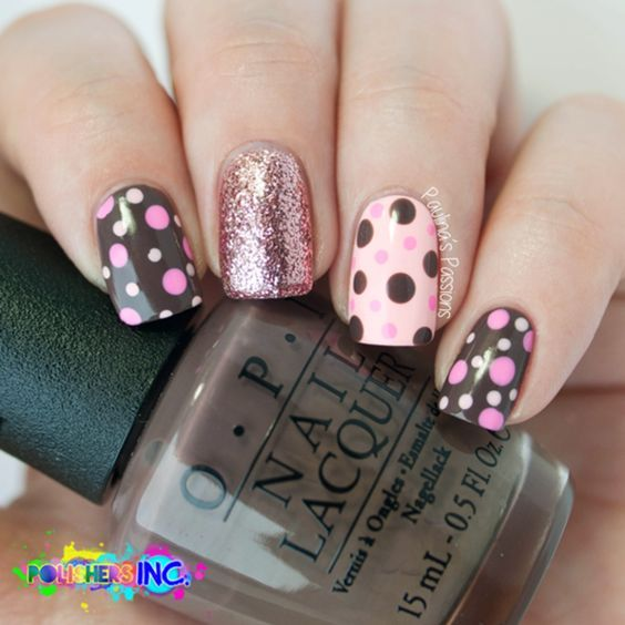 pink and brown glitter polka dot nails pictures photos