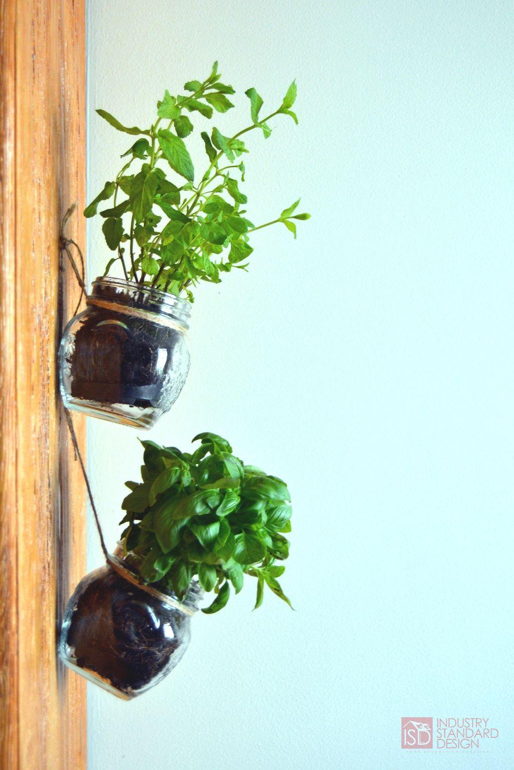 Nice Hanging Mason Jar Herb Garden